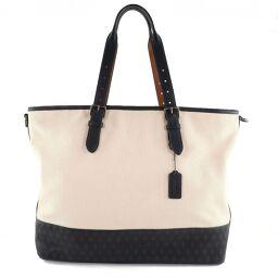 COACH Coach Mother Bag Mercer Diamond Fullard F72155 Canvas x Leather White Ladies Tote Bag [Used] A-Rank