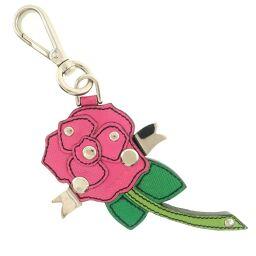 PRADA Prada rose motif leather pink unisex key chain [used] A rank