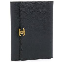 CHANEL Matte Caviar Skin Black Ladies Bi-Fold Wallet [Used]