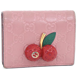 GUCCI Gucci Cherry 476050 Shima Leather Pink Ladies Bi-Fold Wallet [Used]