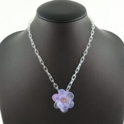 CHANEL Flower Plastic Purple 01P Engraved Women's Necklace [Used] A-Rank