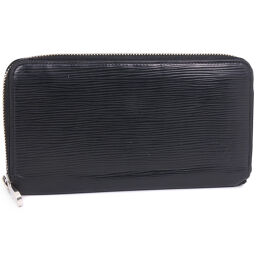LOUIS VUITTON Louis Vuitton Zippy Wallet Round Zipper M60072 Epi Leather Black MI0183 Engraved Men's Wallet [Used]
