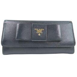 PRADA プラダ リボン 1M1132×サフィアーノ NERO 黒 レディース 長財布【中古】