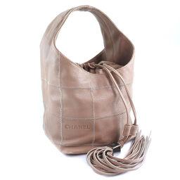 CHANEL fringe calf beige ladies handbag [used]