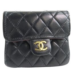 CHANEL Chain Pochette Micro Matrasse Lambskin Black Ladies Waist Bag [Used] A Rank