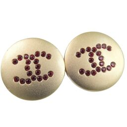 CHANEL Coco Mark GP Red 00A Engraved Women's Earrings [Used] A-Rank