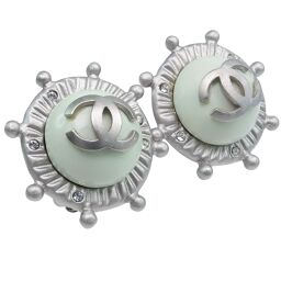 CHANEL Coco Mark Ship Rudder Motif x Diamond Silver 05A Engraved Women's Earrings [Used] A Rank