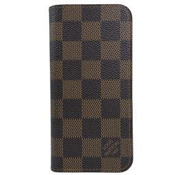 LOUIS VUITTON Louis Vuitton iPhone6 Folio N61242 Damier Canvas Brown Unisex Smartphone Case [Used]