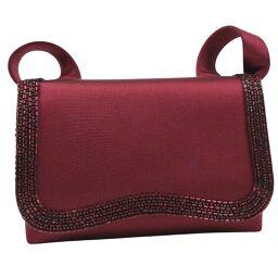 CHANEL Chanel Satin x Rhinestone Bordeaux Ladies Shoulder Bag [Used] A-Rank