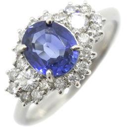Pt900プラチナ×サファイア×ダイヤモンド 13号 S1.44 D0.48刻印 レディース リング・指輪【中古】SAランク