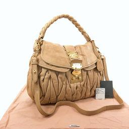 MIUMIU Miu Miu Materasse 2way RR1300 Handbag Leather Beige [Used] Ladies