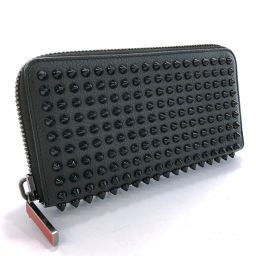 Christian Louboutin Christian Louboutin Pannetone Studs Round Zip 1165044 Long Wallet Leather Black [Used] Unisex