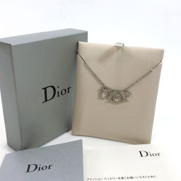 Christian Dior Christian Dior Rhinestone Necklace Metal Silver [Used] Ladies