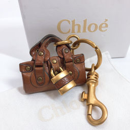 Chloe Chloe Keychain Paddington Type Leather / Metal Brown Gold Hardware [Used] Ladies