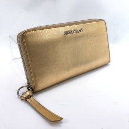 JIMMY CHOO long wallet round zipper leather gold silver hardware [used] Ladies