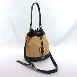 Furla Furla Shoulder Bag Corona Drawstring Type Straw / Leather Beige Black [Used] Ladies