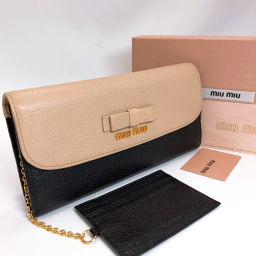 MIUMIU Miu Miu Wallet 5MH379 Leather Black Beige [Used] Ladies