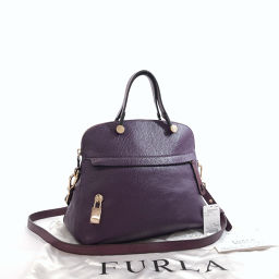 Furla Furla Handbag 00701179 Piper S 2way Leather Purple Gold [Used] Ladies