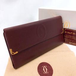 CARTIER Cartier long wallet L3000002 tri-fold gauze vintage leather Bordeaux [used] Ladies