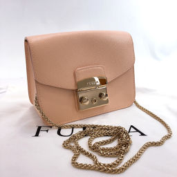 Furla Full La Shoulder Bag Metropolis Leather Pink Gold [Used] Ladies