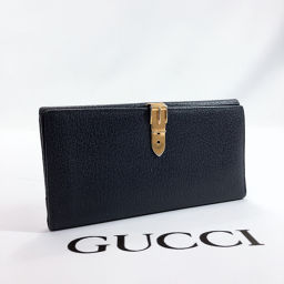 GUCCI Gucci Purse Vintage Leather Navy Gold [Used] Ladies