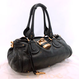 Chloe Chloe Handbag Paddington Leather Black [Used] Ladies
