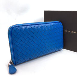 BOTTEGAVENETA Bottega Veneta Long Wallet Intrecciato Round Zip Leather Blue [Used] Ladies