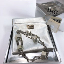 D & G D & G Necklace Metal Silver [Used] Ladies