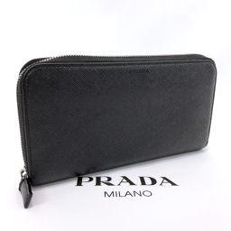 PRADA プラダ 長財布 ラウンドジップ サフィアーノレザー ブラック【中古】 メンズ