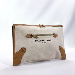 BALENCIAGA バレンシアガ クラッチバッグ 419994 L字ファスナー コットンキャンバス/レザー ベージュ アイボリー【中古】 ユニセックス