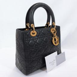 Christian Dior クリスチャンディオール ハンドバッグ MA-0957 カナージュ ラムスキン ブラック ゴールド金具【中古】 レディース
