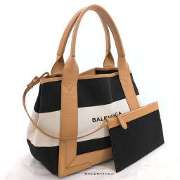 BALENCIAGA バレンシアガ トートバッグ 339933 ネイビーカバス キャンバス/レザー ブラック【中古】 レディース