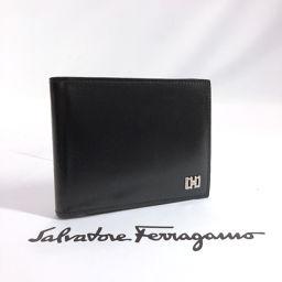 Salvatore Ferragamo サルヴァトーレフェラガモ 二つ折り財布 レザー ブラック シルバー金具【中古】 メンズ