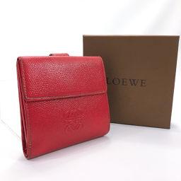 LOEWE ロエベ 二つ折り財布 アナグラム レザー レッド【中古】 レディース