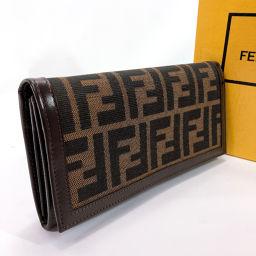 FENDI フェンディ 長財布 2309 ズッカ キャンバス/レザー ブラウン【中古】 レディース