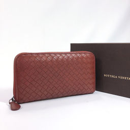 BOTTEGAVENETA Wallet Intrecciato Round Zipper Leather Brown [Used] Unisex