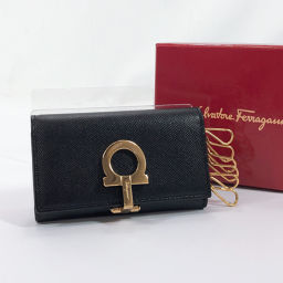 Salvatore Ferragamo Key Case Gantini Leather Black Gold Hardware [Used] Ladies