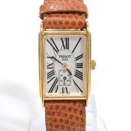 TISSOT ティソ 腕時計 A222K クオーツ メタル/レザー ゴールド ブラウン クオーツ 白文字盤【中古】 レディース