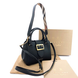 BURBERRY Burberry Handbag 108715 Medium Buckle Tote 2WAY Leather / Gold Hardware Black [Used] Ladies