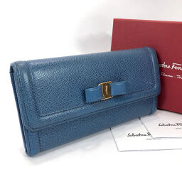 Salvatore Ferragamo Salvatore Ferragamo Long Wallet 22 C870 / 01 Vala Ribbon Calf Blue [Used] Ladies