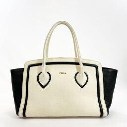 Furla Furla Tote Bag 204385 Bicolor Leather White Black [Used] Ladies