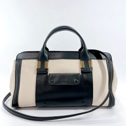 Chloe Chloe Handbag 3S0342-703 Alice 2way Leather Beige Black [Used] Ladies