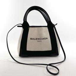 BALENCIAGA バレンシアガ ハンドバッグ 390346 ネイビー カバス キャンバス/レザー ホワイト ブラック【中古】 レディース