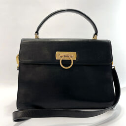 Salvatore Ferragamo Salvatore Ferragamo Shoulder Bag O211654 Gancio 2way Vintage Leather Black [Used] Ladies