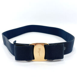 Salvatore Ferragamo Salvatore Ferragamo Belt Vala Rayon / Cotton Navy Gold [Used] Ladies