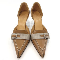 HERMES Hermes Pumps Buckle Pointed Toe Leather Brown [Used] Ladies