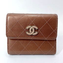 CHANEL Tri-Fold Wallet Matrasse Compact Wallet Leather Brown [Used] Ladies