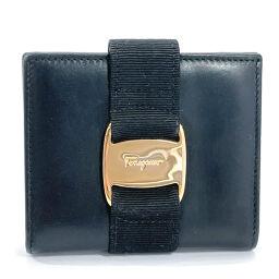 Salvatore Ferragamo Bi-fold wallet Vala leather black gold metal fittings [used] Ladies