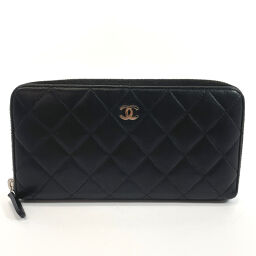 CHANEL Long Wallet Matrasse Round Zip Lambskin Black [Used] Ladies