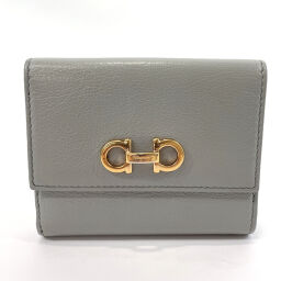 Salvatore Ferragamo Salvatore Ferragamo Tri-Fold Wallet KB-22B001 Gancio Leather Gray Gold Hardware [Used] Ladies